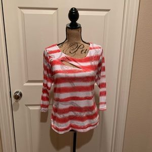 Red and white and grey nautical theme top